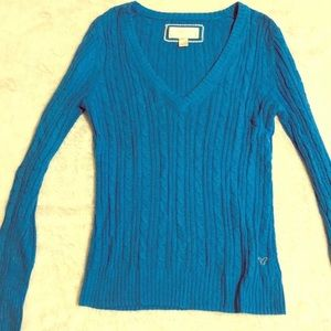 American Eagle Royal Blue V-Neck Sweater